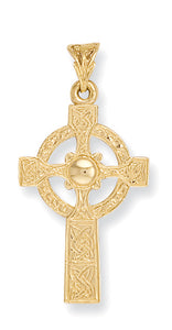 9ct Yellow Gold Engraved Casted Cross Pendent - Queen of Silver