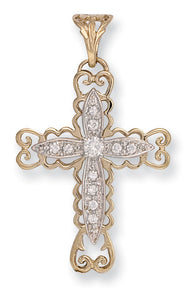 9ct Yellow Gold Fancy Pave Set Cz Cross Pendent - Queen of Silver