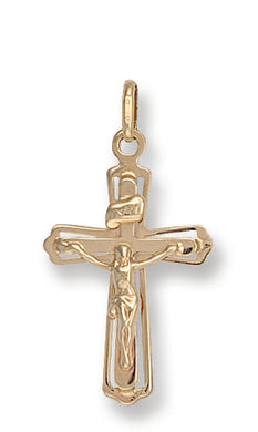 9ct Yellow Gold Cut Out Crucifix Pendent - Queen of Silver