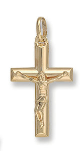 9ct Yellow Gold Tubed Crucifix Pendent - Queen of Silver