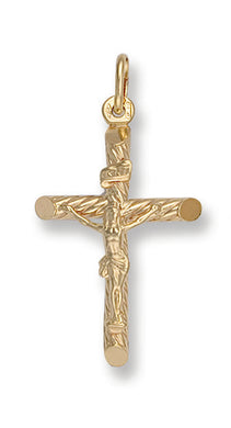 9ct Yellow Gold Round Tube Crucifix Pendent - Queen of Silver