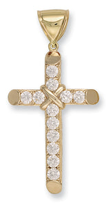 9ct Yellow Gold Claw Set Cz Cross Pendent - Queen of Silver
