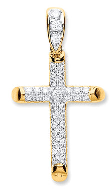 9ct Yellow Gold Round Tubed Cz Cross Pendent - Queen of Silver