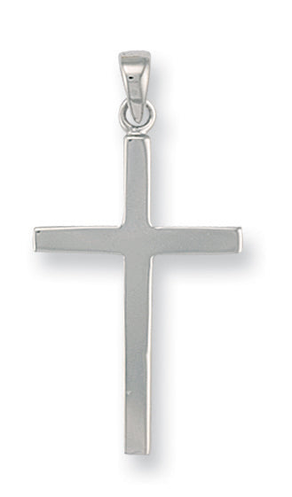 9ct White Gold Plain Cross Pendent - Queen of Silver