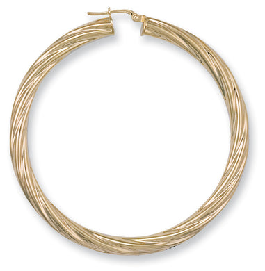 9ct Yellow Gold Twisted Hoop Earrings - Queen of Silver