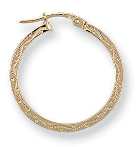 9ct Yellow Gold Patterned Hoop Earrings - Queen of Silver