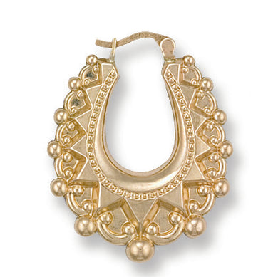 9ct Yellow Gold Fancy Oval Creoles - Queen of Silver