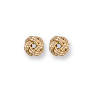 9ct Yellow Gold Plain Knot Stud Earrings - Queen of Silver