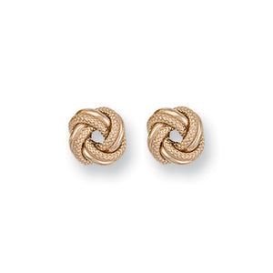 9ct Yellow Gold Frosted Knot Stud Earrings - Queen of Silver