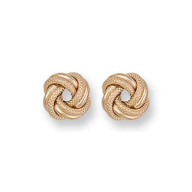 9ct Yellow Gold Large Frosted Knot Stud Earrings - Queen of Silver