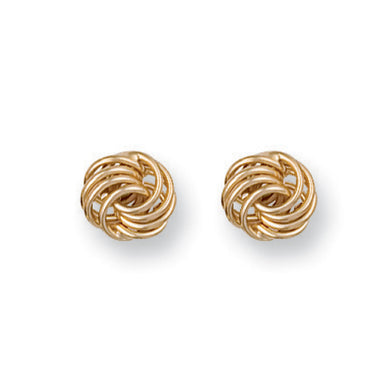 9ct Yellow Gold Plain Fancy Knot Stud Earrings - Queen of Silver