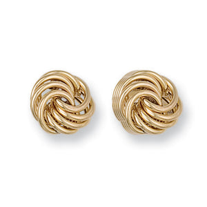 9ct Yellow Gold Large Plain Fancy Knot Stud Earrings - Queen of Silver