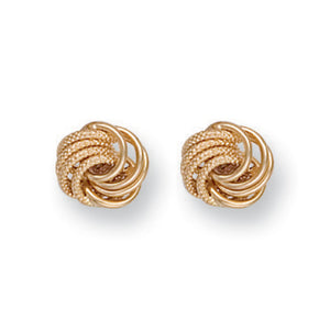 9ct Yellow Gold Plain & Frosted Knot Stud Earrings - Queen of Silver