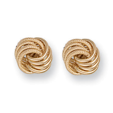 9ct Yellow Gold Medium Plain & Frosted Knot Stud Earrings - Queen of Silver