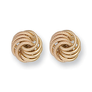 9ct Yellow Gold Fancy Frosted Knot Stud Earrings - Queen of Silver