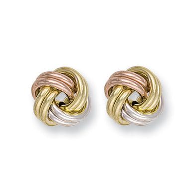 9ct White Yellow & Rose Gold Knot Studs Earrings - Queen of Silver
