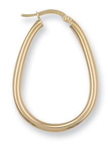 9ct Yellow Gold Oval Tube Hoop Earrings - Queen of Silver
