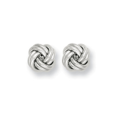 9ct White Gold Knot Studs Earrings - Queen of Silver