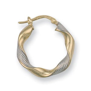 9ct White & Yellow Gold Twisted Hoop Earrings - Queen of Silver