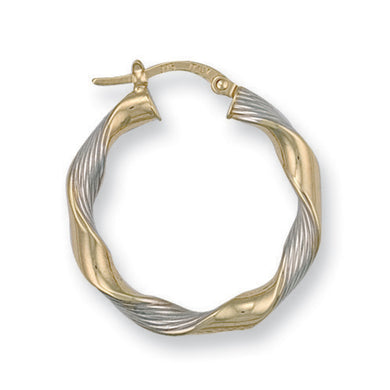 9ct Yellow Gold Satin Twisted Hoop Earrings - Queen of Silver