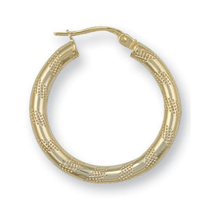 9ct Yellow Gold Frosted Tube Hoop Earrings - Queen of Silver