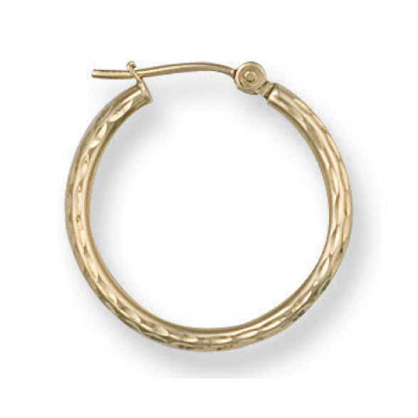 9ct Yellow Gold D/C Hoop Earrings - Queen of Silver