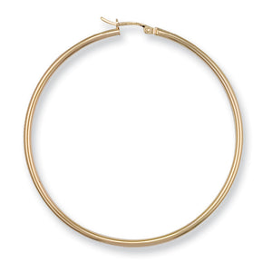 9ct Yellow Gold Round Tube Hoop Earrings - Queen of Silver