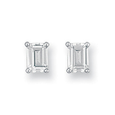 9ct White Gold Emerald Cut CZ Stud Earrings - Queen of Silver