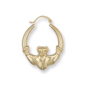 9ct Yellow Gold Claddagh Creoles - Queen of Silver