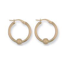 9ct Yellow Gold Glitter Ball Hoop Earrings - Queen of Silver