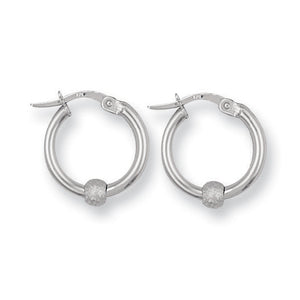 9ct White Gold Glitter Ball Hoop Earrings - Queen of Silver