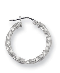 9ct White Gold Twisted Hoop Earrings - Queen of Silver