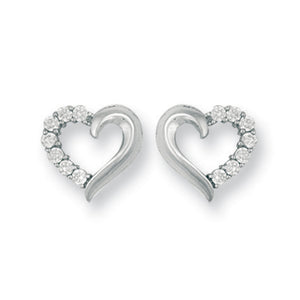 9ct White Gold Cz Open Heart Stud Earrings - Queen of Silver