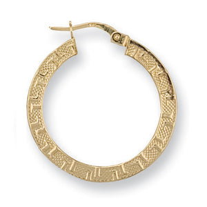 9ct Yellow Gold Frosted Greek Key Hoop Earrings - Queen of Silver