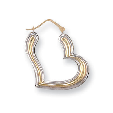 9ct White & Yellow Gold Fancy Heart Creoles - Queen of Silver