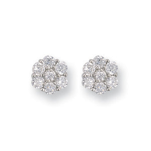 9ct White Gold Cz Flower Cluster Stud Earrings - Queen of Silver