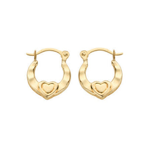 9ct Yellow Gold Heart Creoles - Queen of Silver