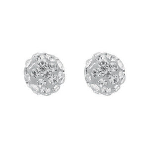9ct Yellow Gold 8mm White Crystal Stud Earrings - Queen of Silver