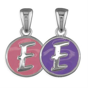 Sterling Silver Pippa Pink and Purple Disc Initial E Pendant