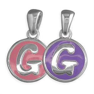 Sterling Silver Pippa Pink and Purple Disc Initial G Pendant