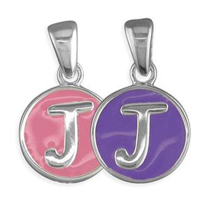 Sterling Silver Pippa Pink and Purple Disc Initial J Pendant