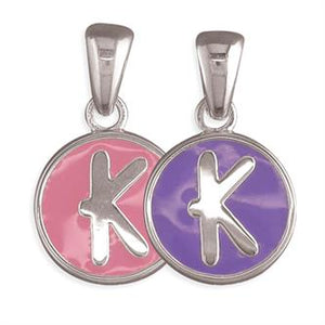 Sterling Silver Pippa Pink and Purple Disc Initial K Pendant