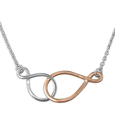 Sterling Silver Double 41-46cm Linked Infinity Symbols necklace