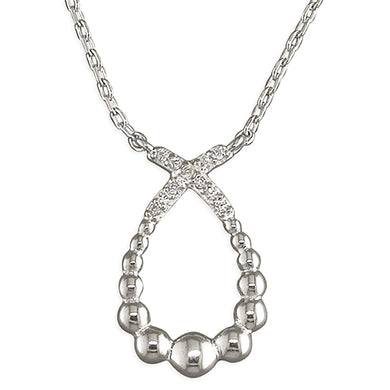 Sterling Silver Crossover Loop 40-45cm and Cubic Zirconia Necklace