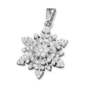 Sterling Silver Vintage Cubic Zirconia Snowflake Pendant