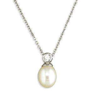Sterling Silver Freshwater 40-45cm Pearl and Rub-Over Cubic Zirconia Necklace