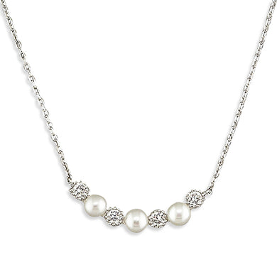 Sterling Silver Freshwater 40-45cm Pearls and Cubic Zirconias Curve Necklace