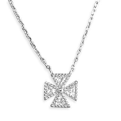 Sterling Silver Cubic Zirconia 40-45cm Maltese Cross Necklace