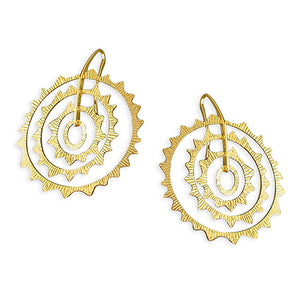 Sterling Silver Gold-Plated Starburst Multi-Sun Shapes Drop Earring
