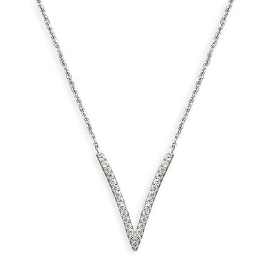 Sterling Silver Cubic Zirconia 42-45cm Vee On Chain Necklace